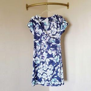 Soft Surroundings Blue Floral Faux Wrap Dress S